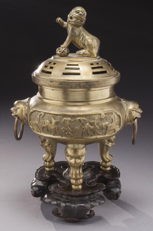 Chinese late Qing bronze incense burner,