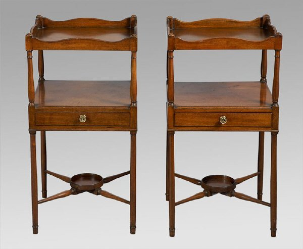 2: Pair George III mahogany tray top side tables