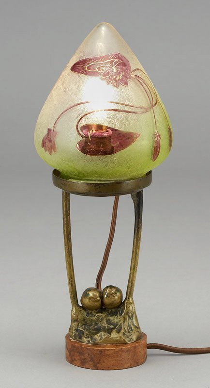 3: Art Nouveau bronze lamp having a conical shade