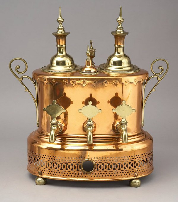 4: English copper tea and coffee urn,