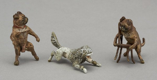 5: (3) Continental bronze miniature erotic dog