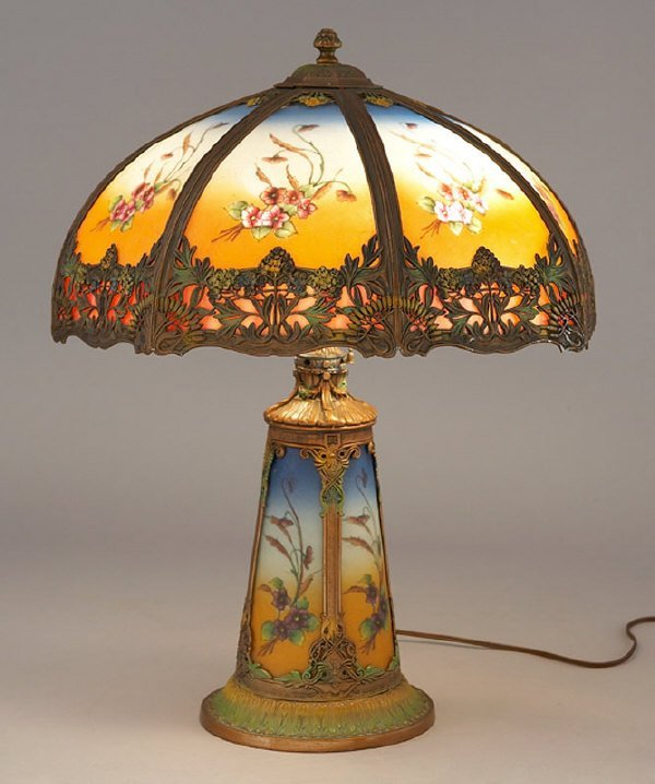 7: An American reverse painted panel lamp having