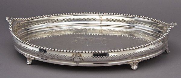 9: Grand English silver plate gallery tray,