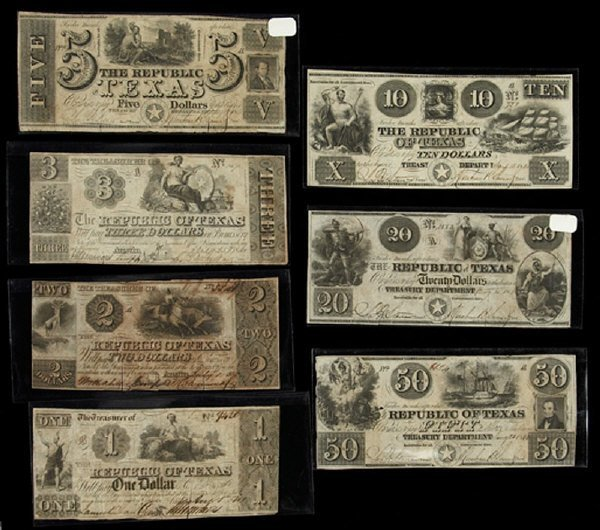 10: (7) Republic of Texas bank notes including: