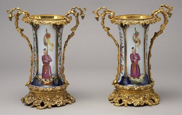 12: Pr. English porcelain ormolu mounted vases,