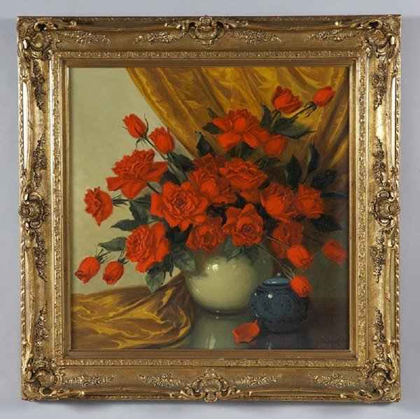 16: A.D. Greer oil painting on canvas still life.