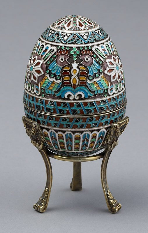 17: Russian style silver and enameled egg having a