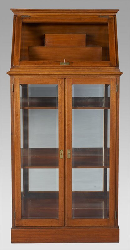 18: Mahogany display cabinet with slant top