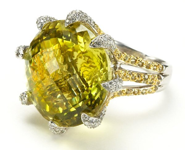 20: 18K gold, diamond, and lime citrine dinner ring