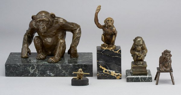 22: (5) bronze monkey sculptures including: