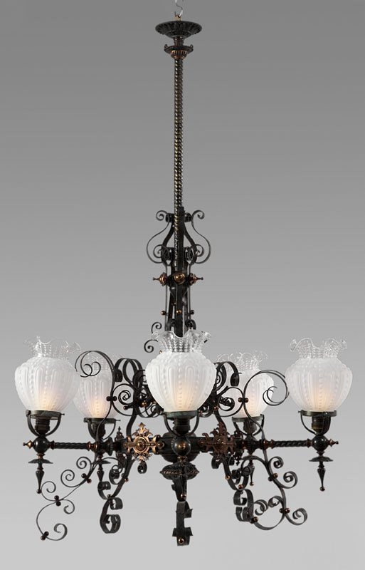 23: Black wrought iron and copper chandelier