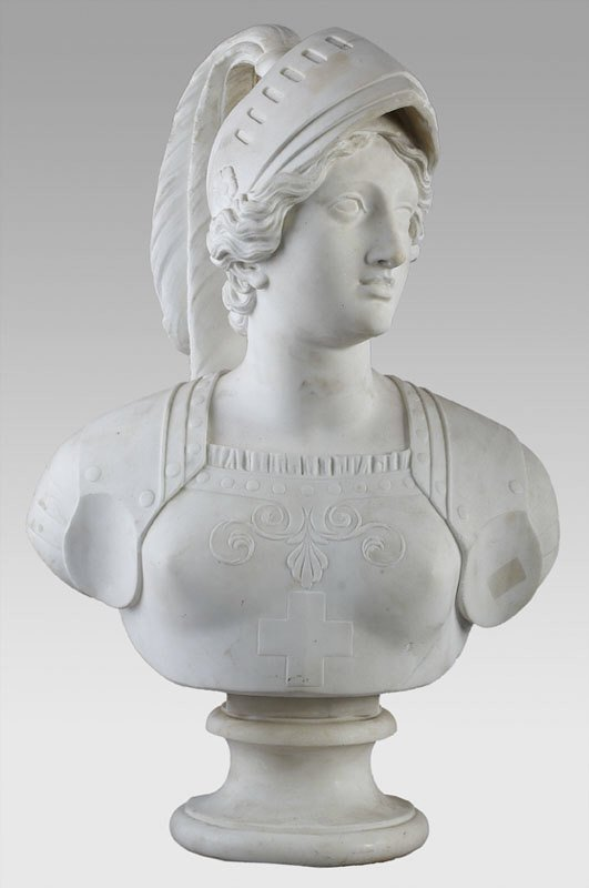 91: Italian marble bust, after Rinaldi of Joan of Arc,