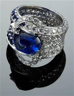 "177: 18K, Chanel ""Meteorite"" sapphire and diamond ring"
