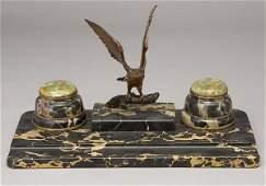 335 Austrian inkwell desk set having a bronze eagle
