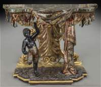 Elaborate Venetian carved polychrome wood console