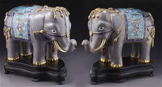 Pr. of Chinese cloisonne elephant planters