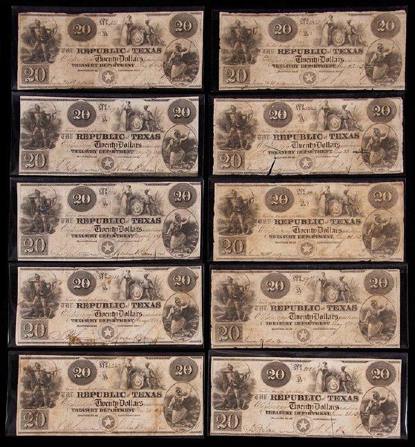 2: (10) $20 A-6 Republic of Texas banknotes including