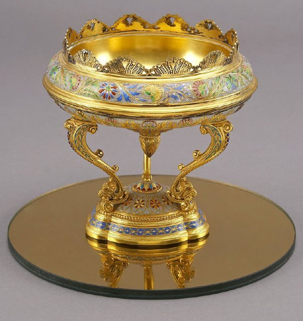 3: Elkington and Co. gilt bronze champleve compote