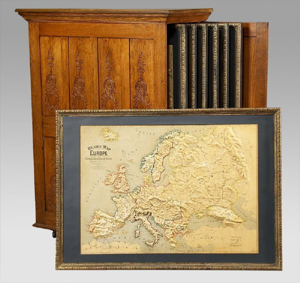 9: Oak Cabinet with (7) relief maps of continents