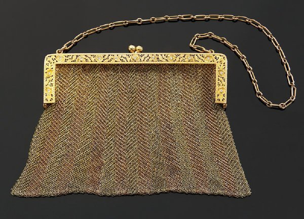 10: 9K green and rose gold woven purse with diamonds,