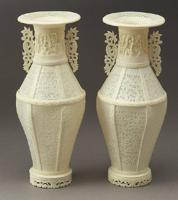 11: Pr. Chinese carved canton style ivory vases,
