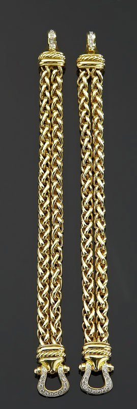 12: Pair David Yurman gold and diamond bracelets