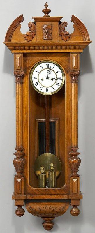 16: Vienna regulator style 2-weight wall clock in a