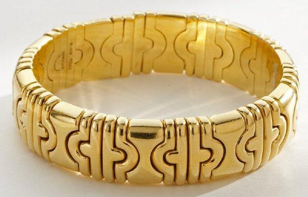 17: Bulgari Parentesi 18K gold cuff bracelet.