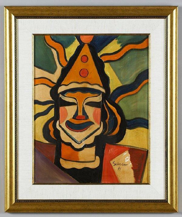 "19: Hugo Scheiber, ""Clown"" mixed media"
