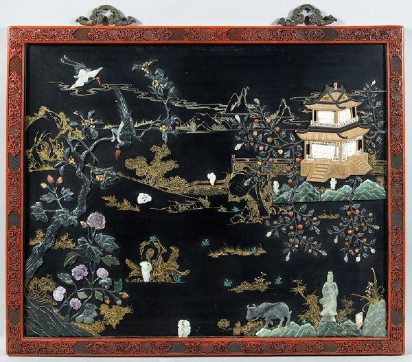 20: Chinese Qing cinnabar jade and hard stone inlaid