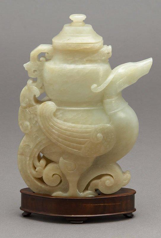 166: Chinese carved jade Qianlong vase,