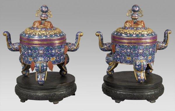 220: Pr. Chinese monumental cloisonne incense burners