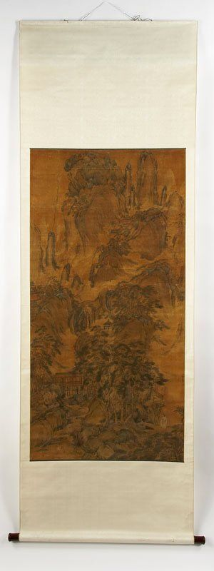 319: Chinese Qing watercolor on silk painted scroll