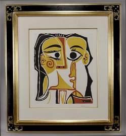 """Pablo Picasso """"Tete de Femme"""" color linocut on"""