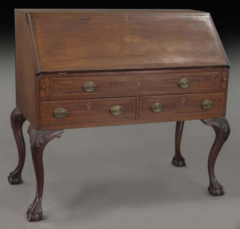 Samuel Clemens Chippendale style inlaid desk