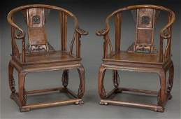 Pr. Chinese carved Huanghuali wood armchairs,