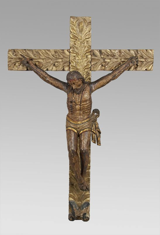 3: Spanish Colonial 18th C. wood and gesso crucifix