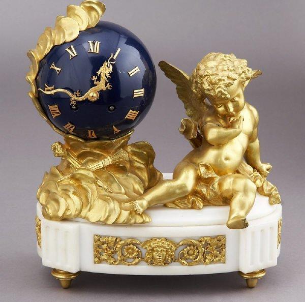 5: French gilt bronze figural mantle clock having