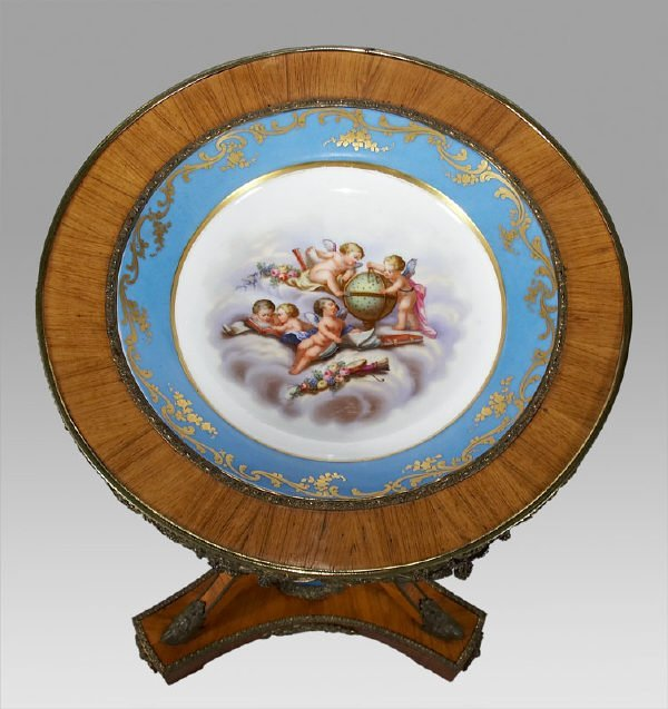 7: Sevres style porcelain and ormolu mounted gueridon