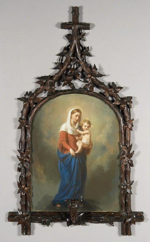 10: Pastel Madonna and Child in Black Forest frame,