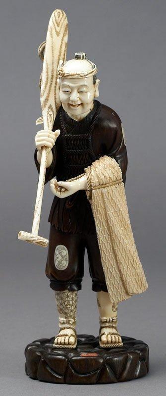 11: Japanese Shibayama style okimono of a fisherman