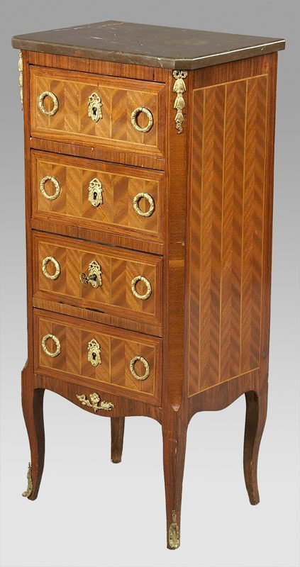13: Louis XVI style parquetry marble top chest