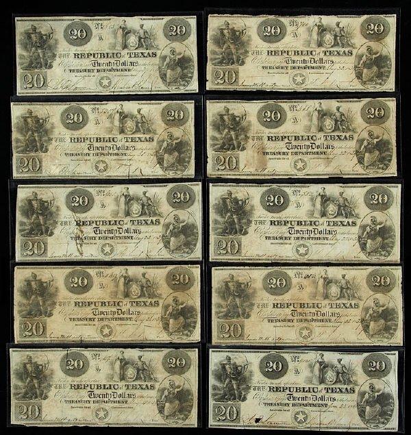 18: (10) $20 A-6 Republic of Texas banknotes,