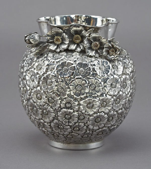 20: American sterling silver repousse Henry Kirk vase