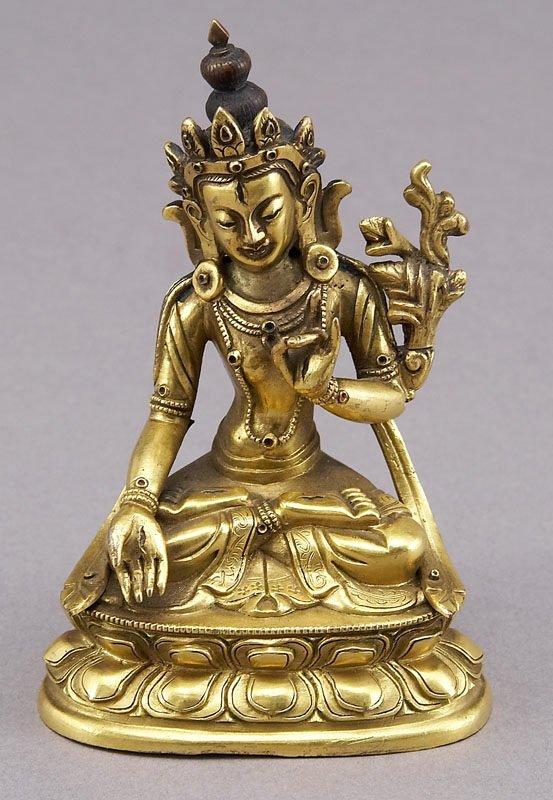 21: Sino-Tibetan Qing gilt bronze figure of Tara
