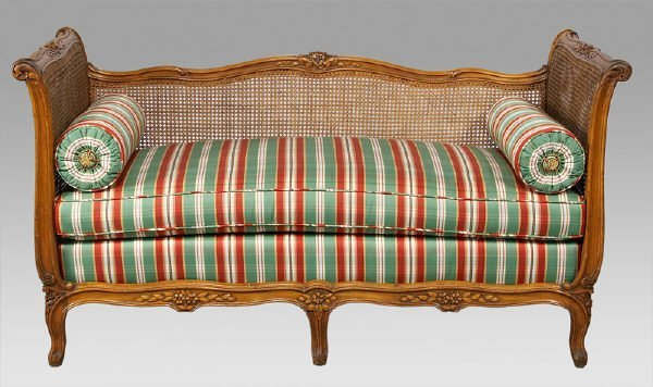 23: Louis XV style caned carved walnut daybed