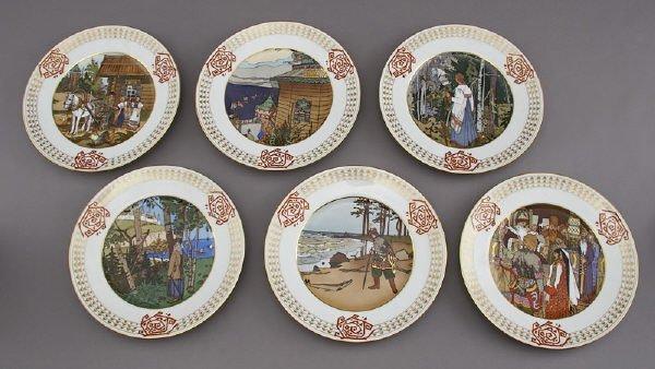 158: (6) Russian Kornilow for Tiffany folktale plates