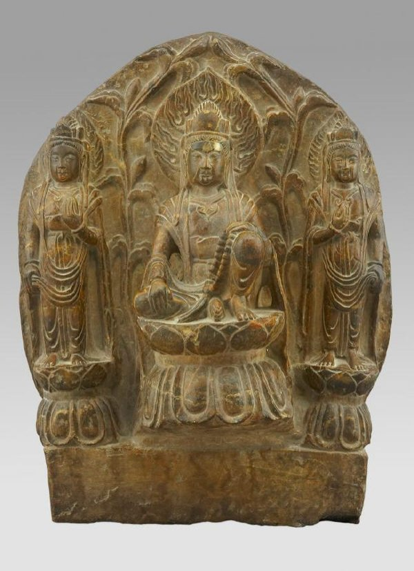 173: Important Chinese Sui Dynasty carved triad stele