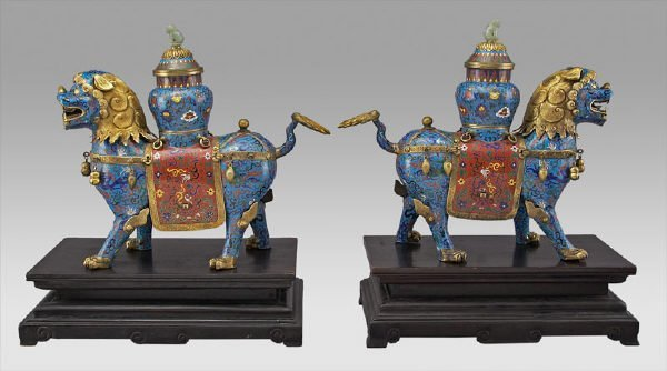 200: Pr. Chinese bronze and cloisonne lions