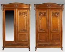 215: Pr. Art Nouveau mahogany bedroom wardrobes